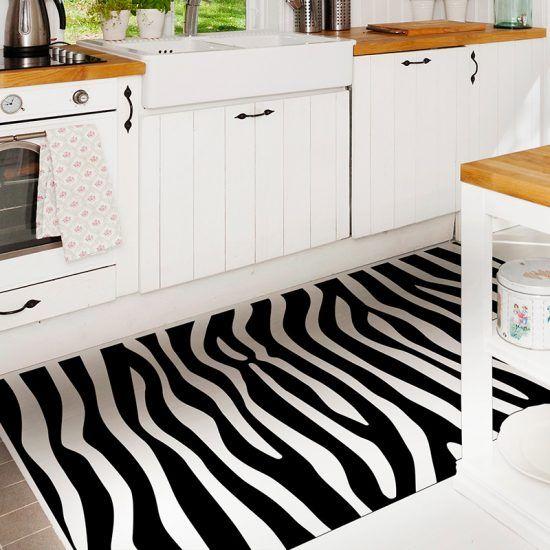 ALfombra Vinílica Black & White vertical cocina