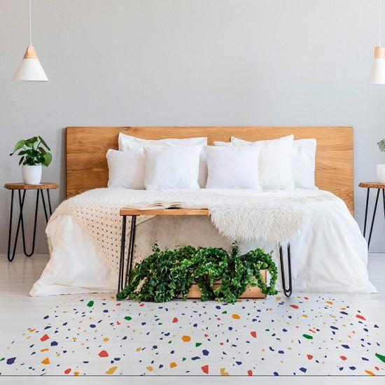 Alfombra Vinílica Mosaic White dormitorio