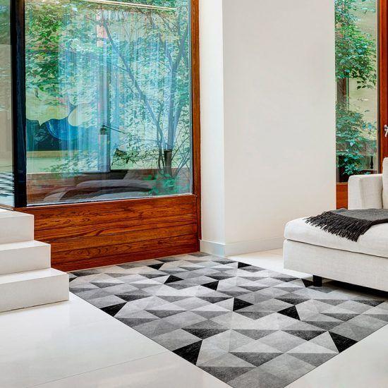 ALfombra Vinílica Grey Triangles recibidor