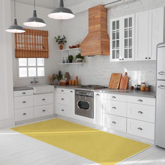 tapis vinyle jaune cuisine
